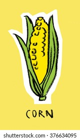 Corn cob on yellow background