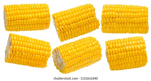 Corn cob pieces set isolated on white background. Package design element with clipping path
