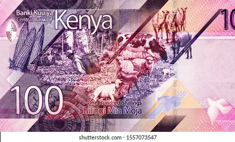 Corn cobs, tea leaf harvesiting ,livestock rearing , flying doves, Portrait from Kenya, 100 Shillings 2019 Banknotes. An Old paper banknote, vintage retro. Famous ancient Banknotes. Collection.