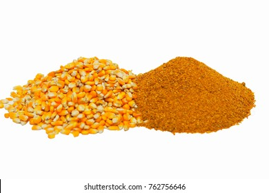 Corn and ddgs , biodiesel, biofuel,renewable energy, ethanol distilled,rich protein of animal feed ,quality nutrients on white isolate background
