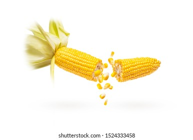 corn in dynamics on a white background,grains,greenery