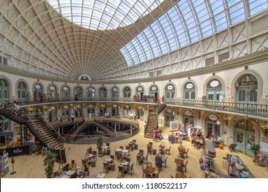 CORN EXCHANGE,  LEEDS CITY CENTRE, 24 JUNE 2018 - Vintage shopping centre.