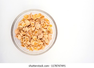 Corn flakes close-up. flakes on white background