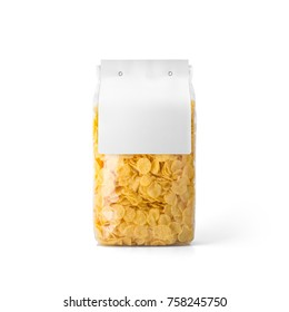 Corn flakes in transparent plastic bag with white label isolated on white background. Packaging template mockup collection. With clipping Path included. Stand-up Front view.