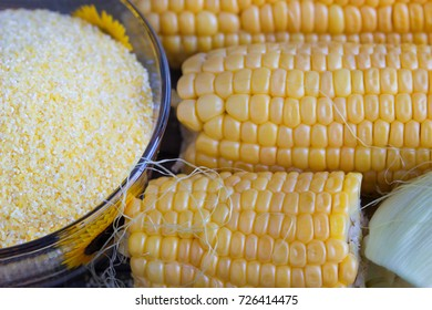 Corn flour. Ingredients for the preparation of bread from corn flour. Healthy food.