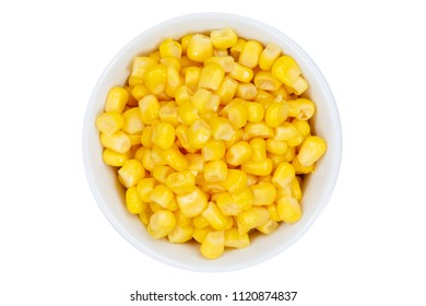 Corn grains grain from above bowl isolated on a white background