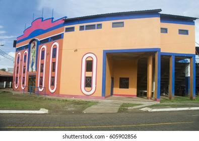 CORN ISLAND, NICARAGUA-JANUARY 17: The new facade of the Karen Tucker Baseball Stadium at Big Corn Island, Nicaragua is seen on January 17, 2017.