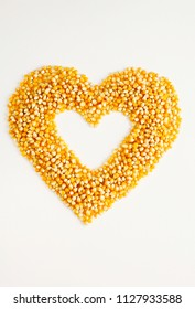 Corn kernels with heart shape inside