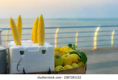 Corn and lemon at the seaside of beirut lebanon