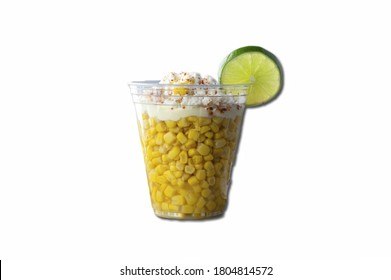 corn lime mexican food snack cheese streetcorn white isolated background.