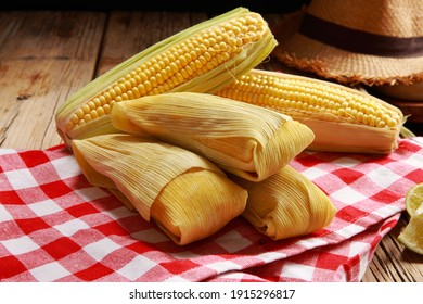 Corn Maize and Humitas awaiting cooking after harvesting and making respectively