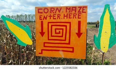 Corn maze sign at a farm in Canada