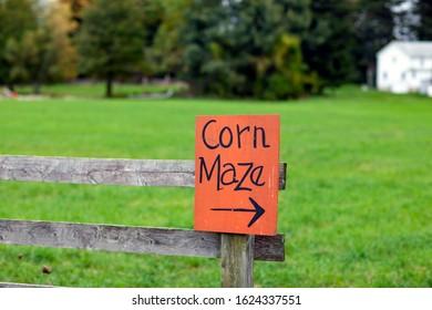 Corn maze sign on a wooden fence at a pumpkin patch