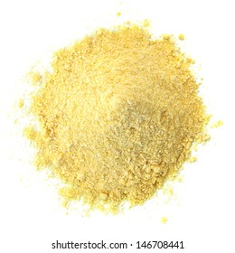 Corn meal pile or heap from top isolated on white background