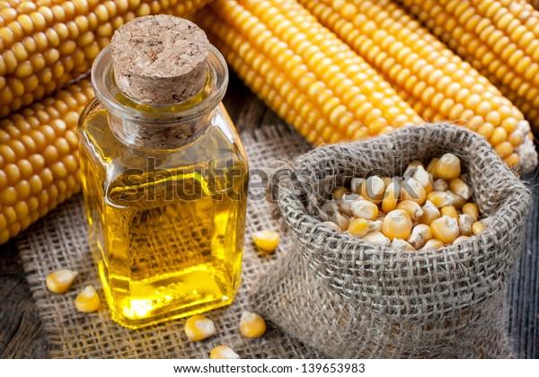 Corn oil in small bottle