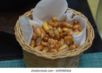 corn on basket food eath