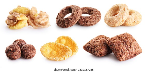 Corn pads, rings, balls, cornflakes and granola isolated on white background. Cereals breakfast collection with clipping path.