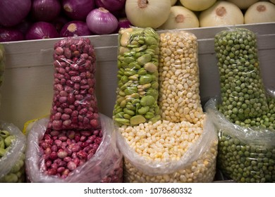 Corn, peas, fava and red beans for sale in authentic Ecuadorian street market.