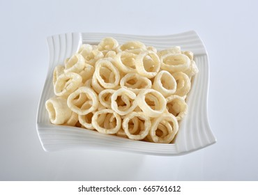 Corn ring snack in white dish