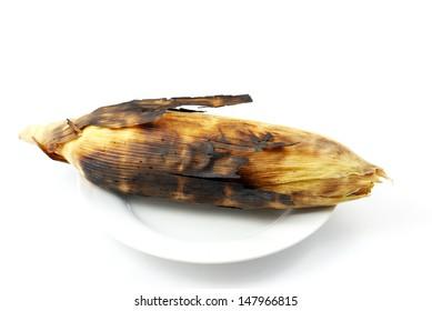 Corn roasted thai style isolate.