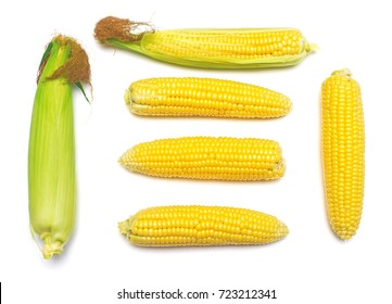 Corn with skin or without skin isolated on white background. A collection of corn. Flat lay, top view