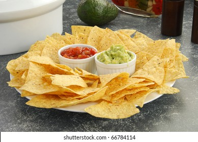Corn tortilla chips with salsa and guacamole