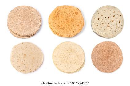 corn tortillas on a white background
