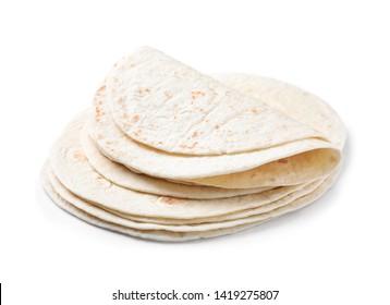 Corn tortillas on white background. Unleavened bread