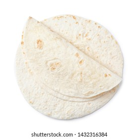 Corn tortillas on white background, top view. Unleavened bread