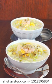 Corn and white fish chowder  for two is an easy lunch or dinner than can be quickly prepared with food from your fridge