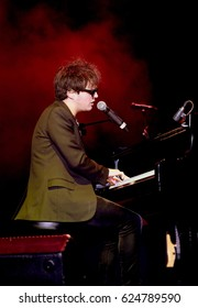 Cornbury Festival - July 8th 2016: British jazz musician Jamie Cullum  performing on stage at Cornbury Festival, Great Tew Park, Chipping Norton, Oxfordshire, July 8, 2016 in Oxfordshire, UK