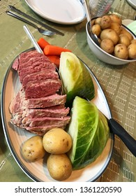 Corned Beef and Cabbage Dinner With Boiled Potatoes,Carrots, and Cabbage