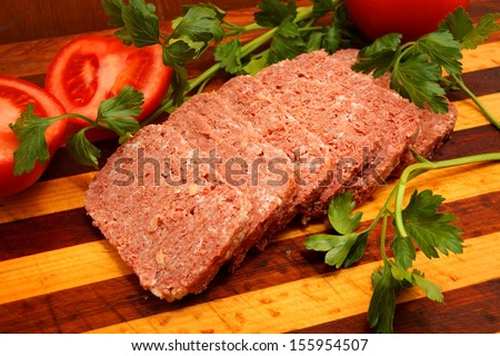 Corned Beef over wooden background