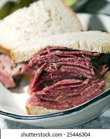 corned beef pastrami side by side sandwich rye bread kosher jewish delicatessen new york