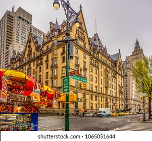 Corner of 72nd Street and Central Park West, New york City - with the Dakota Building in rhe background.