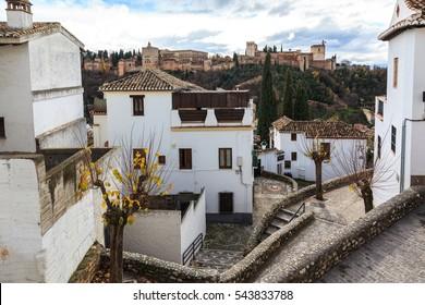 Corner Albaicin neighborhood in Granada. Spain