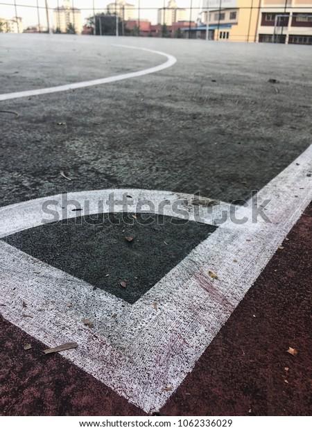A corner angle of futsal court.
