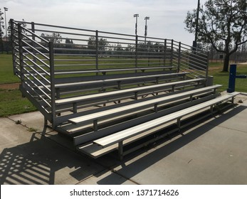 Corner angle view of silver bleacher at Tustin Park.