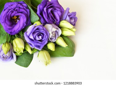 Corner arrangement with lisianthus flowers and buds on white background. Flat lay. Top view.