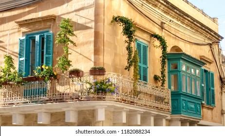 A corner balcony in Sliema, Malta.