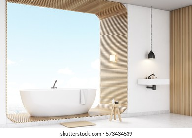 Corner of bathroom with white concrete walls and a tub standing on a wooden decoration element. 3d rendering. Mock up.