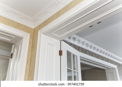 corner of a ceiling and doors.
