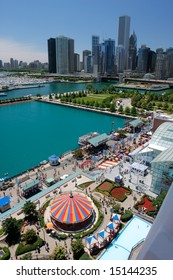 Corner of Chicago Navy Pier at Summer Time, Aerial View from Top