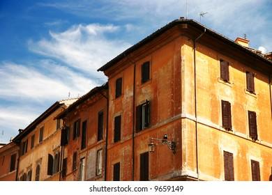 Corner of a classic roman building (Rome, Italy)