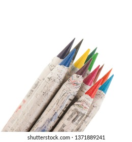 Corner with colored pencils isolated over white background
