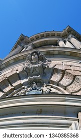 A corner detail from the old Stock Exchange in Munich, Bavaria, Germany which, as the cartouche reveals,was originally built for Deutsche Bank between 1896 and 1898 by the architect Albert Schmidt.