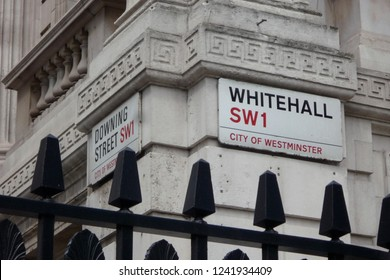 Corner of Downing Street and Whitehall, the home of the British Prime Minister and government offices and a famous tourist destination