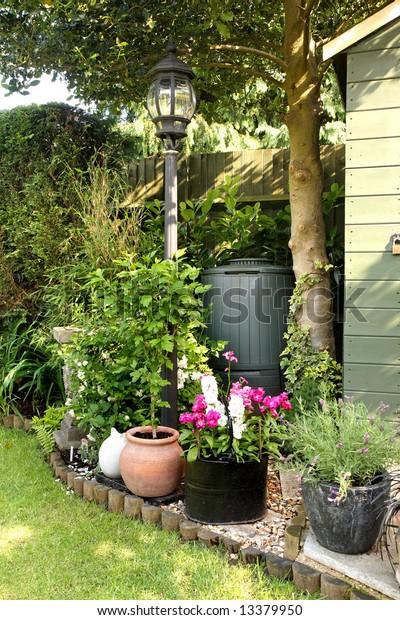 Corner English Back Garden Planters Shrubs Stock Photo Edit Now