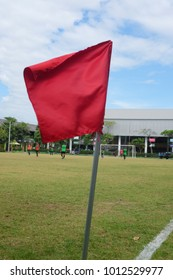 Corner flag on the soccer field outdoors