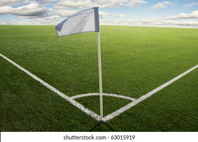 Corner flag on a soccer field